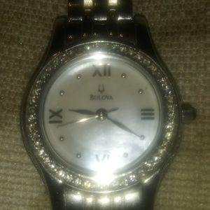 Silver Bulova with diamonds ladies wrist watch